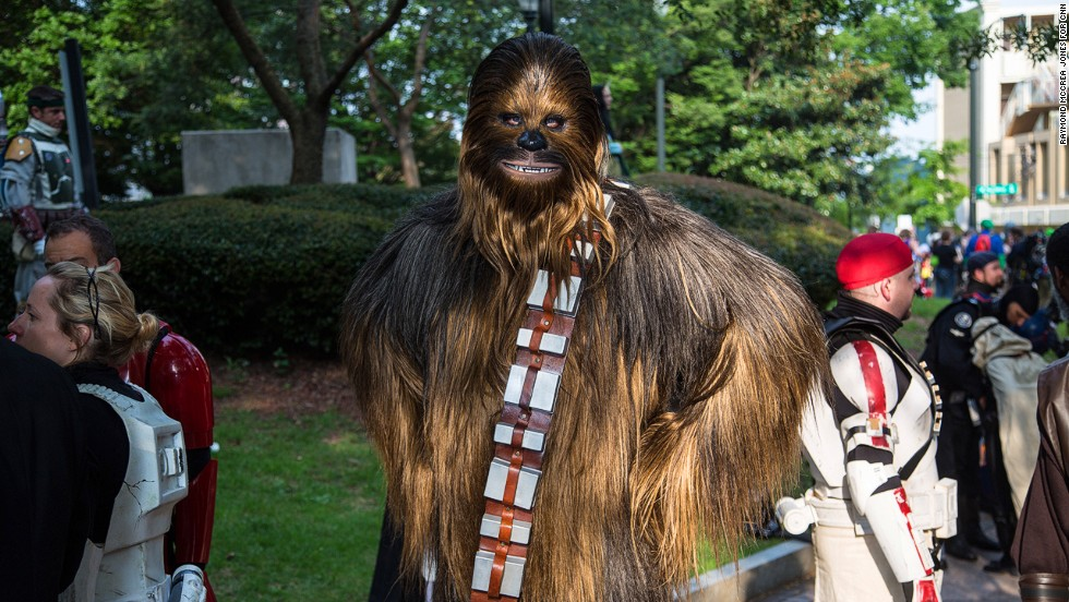 "Ryan Ricks of Fort Bragg, North Carolina, attends the parade dressed as Chewbacca from ""Star Wars."""