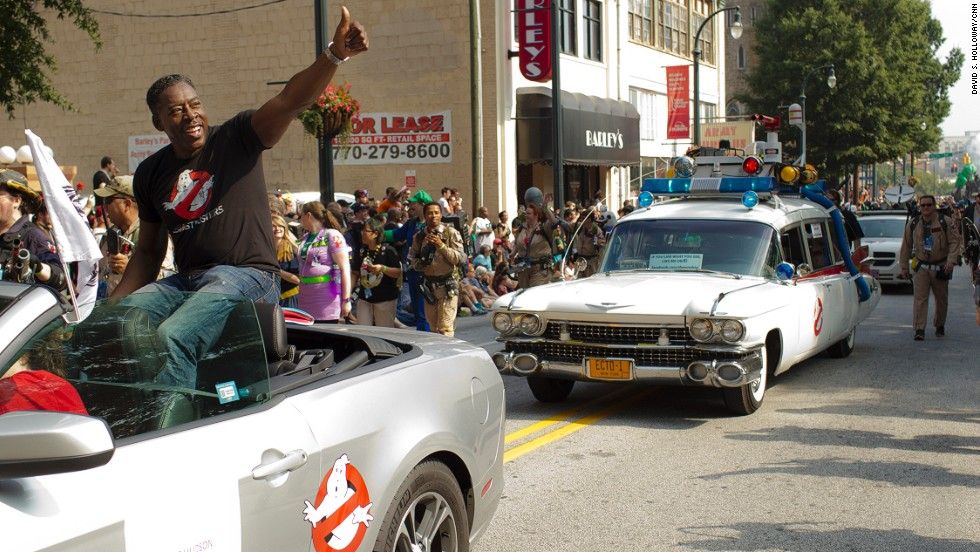 "Actor Ernie Hudson, best known for his role in ""Ghostbusters,"" rides along the parade route."