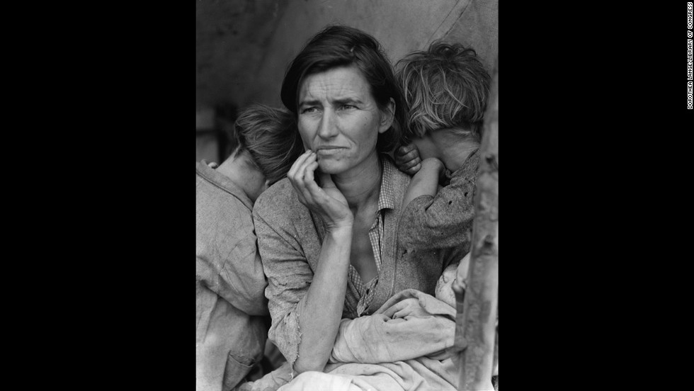 "Dorothea Lange's photograph of a struggling mother with her children in 1936 became an icon of the Great Depression. Lange was traveling through California, taking photographs of migrant farm workers for the Resettlement Administration, when she came across Florence Owens Thompson. ""I saw and approached the hungry and desperate mother, as if drawn by a magnet,"" <a href=""http://www.loc.gov/rr/print/list/128_migm.html"" target=""_blank"">Lange recalled</a> in 1960. The image was retouched to remove the woman's thumb from the lower right corner."