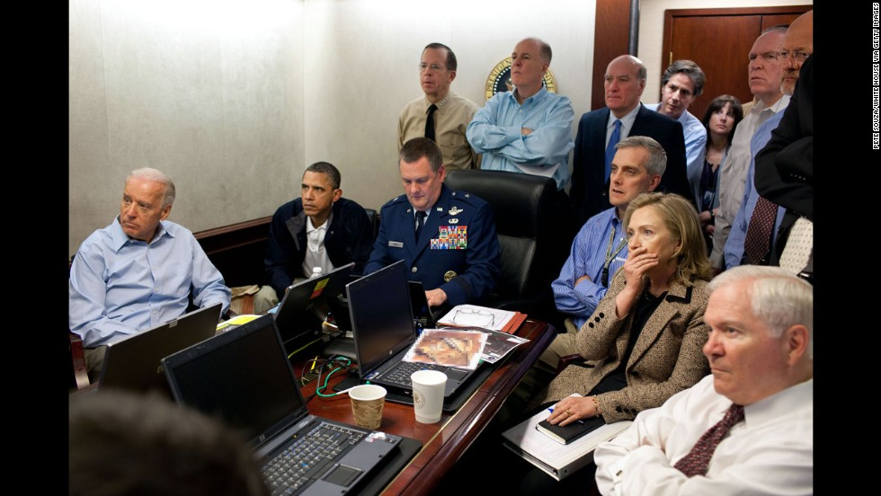 "President Barack Obama and members of his national security team monitor the Navy SEALs raid that killed Osama bin Laden in 2011. It was a crucial moment in American history, and White House photographer Pete Souza captured the tension in the room. ""It was probably one of the most anxiety-filled periods of time, I think, in the lives of the people who were assembled,"" counterterrorism adviser <a href=""http://www.cnn.com/2011/POLITICS/05/03/iconic.obama.photo/index.html"">John Brennan later told reporters</a>. A classified document on the table was obscured by the White House."
