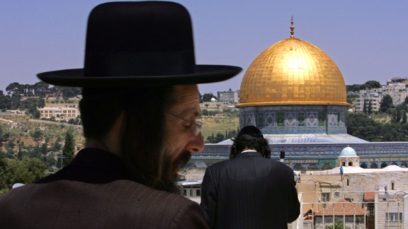 Ultra-Orthodox Jews look out over the Dome of the Rock. Israel took control of the eastern part of the ancient city in 1967 and considers Jerusalem its capital, but the international community doesn