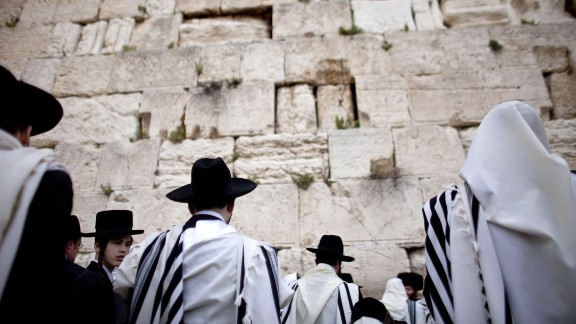 Jewish men attend the Kohanim prayer, or priest