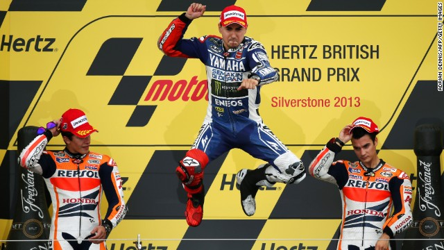 Jorge Lorenzo was jumping for joy after beating two Honda racers at the British MotoGP at Silverstone.