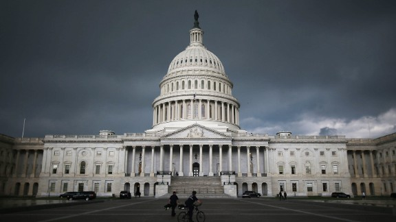 Storm clouds fill the sky over the U.S. Capitol Building, June 13, 2013 in Washington, DC.