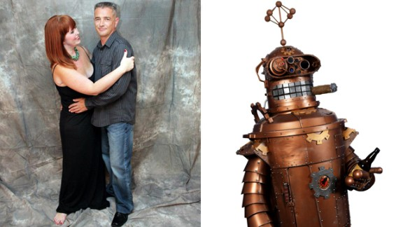 """Ellen Leroy-Reed's husband, Fred Reed, turned heads at Dragon Con with his take on a steampunk Bender from """"Futurama."""" """"As his vision took shape, he added Bender's signature stogie and beer,"""" Leroy-Reed said. """"But why stop there? Bender's front hatch opens to reveal a bar with mixers and shot glasses. The bar is decorated in Victorian style complete with velvet curtain and embellished bar."""""""