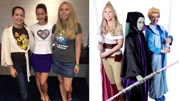 """Inspired by Disney's purchase of Lucasfilm, Sabrina Maizland of Fairfax, Virginia, and her friends decided to portray """"Disney Jedi princesses"""" (from left to right, Maizland as Sleeping Beauty, Stefanie Hackenburg as Maleficent and Caren Chancey as Cinderella). """"I have lots of friends who cosplay and we have a wonderful time throwing sewing parties and sharing tips on how to get your costume just right. It is fun to find creative and artistic people who share your interests,"""" Maizland said."""