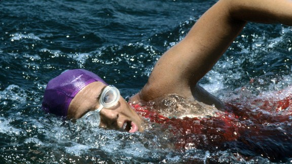 Diana Nyad swims along Florida's Gold Coast in July 1978. On her fifth attempt, Nyad, now 64, became the first person to swim the 103 miles from Cuba to Florida without a shark cage. The endurance swimmer achieved her lifelong ambition of conquering the Straits of Florida on Monday, September 2, after four earlier setbacks.