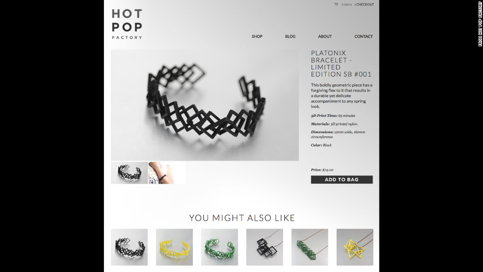 Thousands of designs for 3-D printed bracelets are available on the Web that can be printed in materials ranging from plastic to sterling silver.