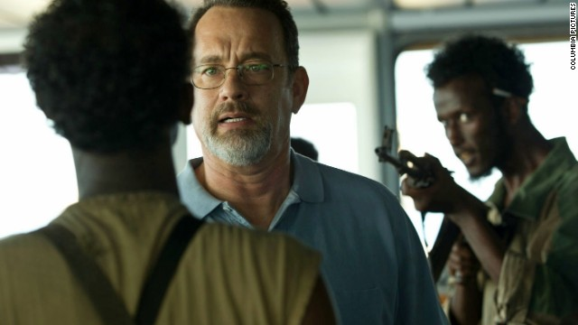 "Tom Hanks stars as Captain Richard Phillips and Mahat M. Ali stars as Elmi in ""Captain Phillips."""