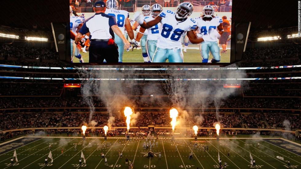 "AT&T Stadium, home of the Dallas Cowboys, is Wi-Fi enabled and is home to high-definition LED video displays so large they have <a href=""http://cowboysblog.dallasnews.com/2013/08/video-board-gets-in-the-way-on-cowboys-punt-re-kick-results-in-bengals-td.html/"" target=""_blank"">twice</a> been struck by balls in play."