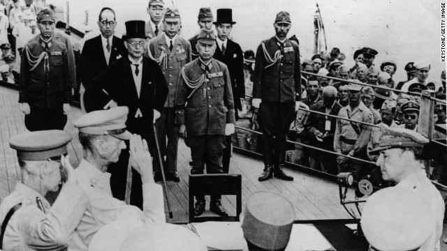 U.S. Army Gen. Douglas MacArthur, bottom right, prepares to accept Japan's unconditional surrender on September 2, 1945.