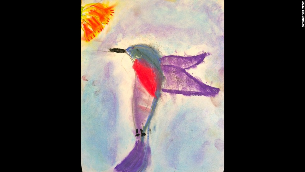 "C.J., now a first-grader, drew a hummingbird in art camp this summer. ""He'll tell you that his favorite subjects at school are playing on the playground with his friends and doing crafts,"" Duron wrote. ""It's the academic portion of school that he struggles with sometimes."""