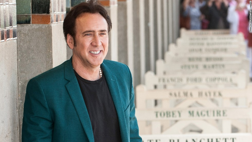 Nicolas Cage poses next to the beach closet dedicated to him during the 39th Deauville American film festival in Deauville, France on September 2.