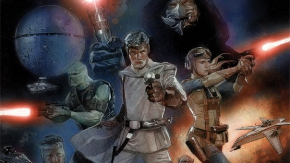 """George Lucas' rough draft script, """"The Star Wars,"""" is finally being illustrated in full by Dark Horse Comics. The characters of Lucas' original vision vary in big and small ways from the ones we know and love from """"Star Wars."""" For example, Darth Vader wears no helmet here."""