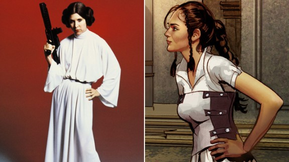 The original Leia appears to be something of a combination of the films' Leia and Queen Amidala (the trademark buns are nowhere in sight).