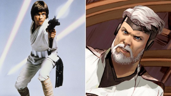 One of the first people we encounter in the eight-issue series is General Skywalker, a good deal older and more experienced than the Jedi-in-training from the original film. (The 1974 script's Luke also bears a striking resemblance to Lucas in 2013.)