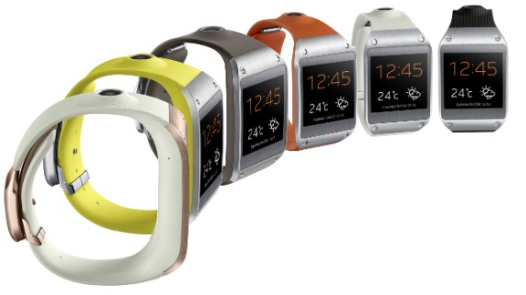 The Galaxy Gear, which connects to the latest Samsung smartphone via Bluetooth, has a 1.6-inch display, 1.9 megapixel camera and 4GB of storage. It has 24 hours of battery life and comes in six colors: Rose Gold, Lime Green, Mocha Gray, Wild Orange, Oatmeal Beige, and Jet Black. Their names, not ours.