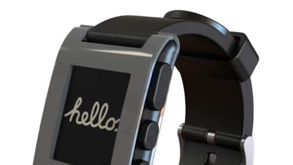 The Pebble Watch first gained attention by pulling in more than $10 million on Kickstarter. Pebble connects to an iPhone or Android phone via Bluetooth and has a growing selection of its own apps.