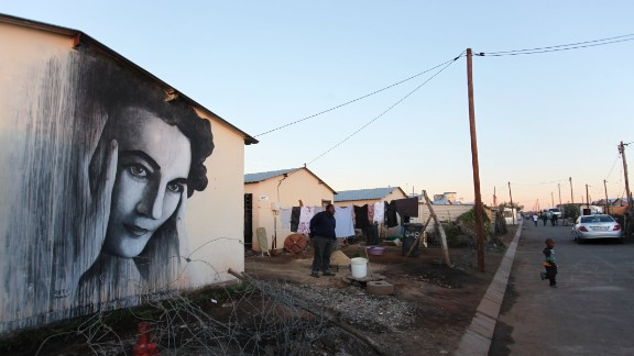 This image of anti-apartheid activist Ruth First was painted on the side of a home in Soweto by Ben Slow. First was murdered by a parcel bomb while working in exile in Mozambique in 1978, and remains one of the most iconic figures of the country's struggle against the former regime.