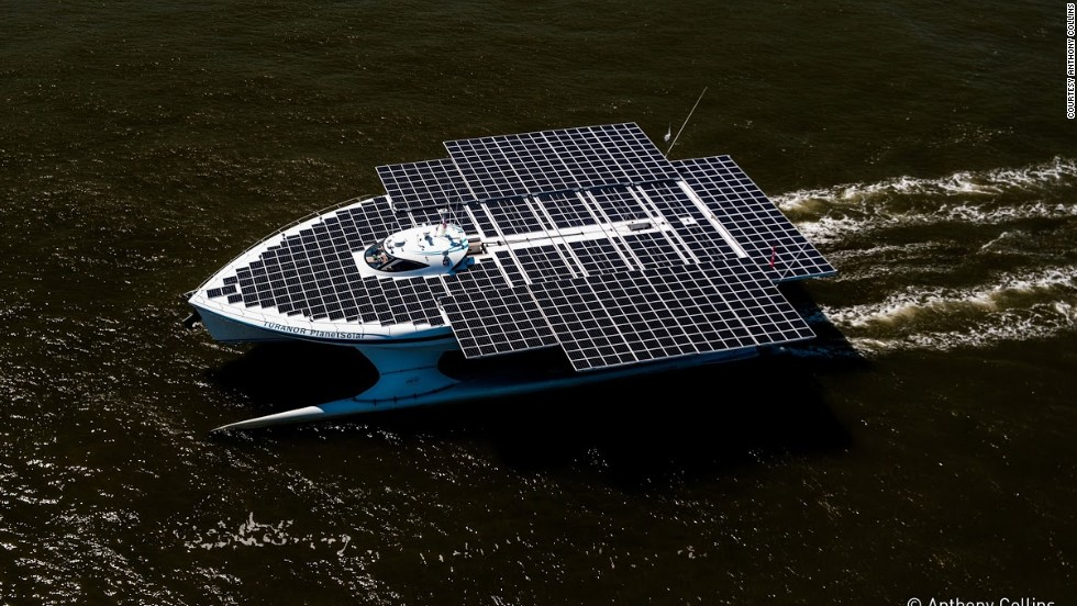 Featuring an expandable deck covered in over 500 square meters of solar panels, the 60-ton vessel is completely powered by the sun. More than 800 solar panels charge enormous lithium-ion batteries stowed in the catamaran's twin hulls -- which power two electric motors at the back.