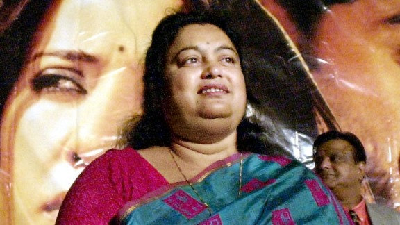 "Sushmita Banerjee at a news conference in 2002, announcing a film based on her life story, ""Escape from Taliban."""