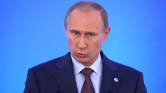 Russian President Vladimir Putin speaks at a press conference during the G20 summit meeting in St. Petersburg, Russia on Friday, September 6, 2013.