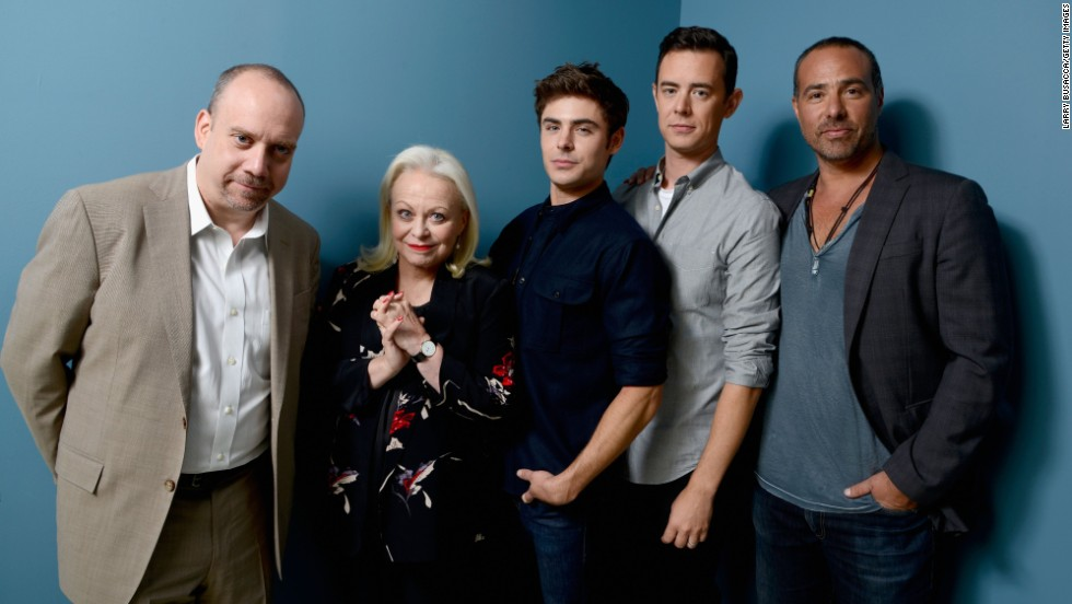 "Actors Paul Giamatti, from left, Jacki Weaver, Zac Efron and Colin Hanks and director Peter Landesman of ""Parkland"" take a group shot at the Guess Portrait Studio during festival on September 6."