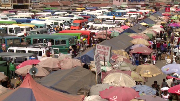 The frantic Kaneshie Market in central Accra is a mass transit hub for tro-tros.
