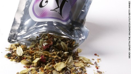 "WASHINGTON, DC - JULY 7:  A pouch of dried herbal potpourri being called ""synthetic marijuana"", photographed at The Washington Post via Getty Images in Washington, DC on July 7, 2010.  One gram bags of the herbal mix are labeled warning the product is ""not for human consumption"" and to ""burn in a well ventilated area."" (Photo by Wendy Galietta/The Washington Post via Getty Images)"