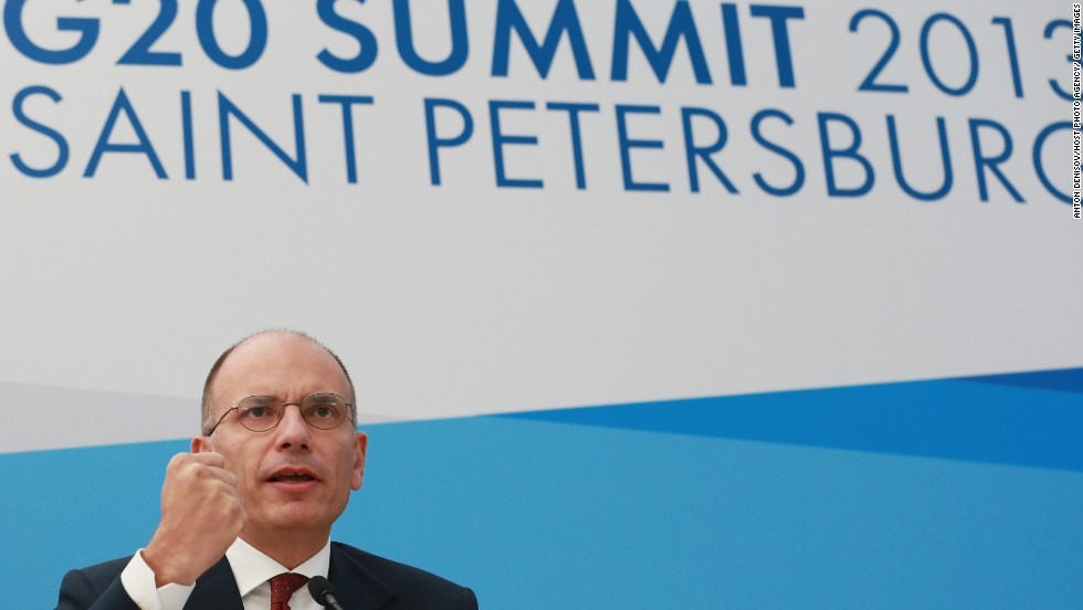 Prime Minister of Italy Enrico Letta speaks during a press conference at the end of the G-20 Summit on September 6.