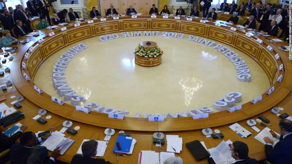A view of the meeting of the G-20 heads of state and government, as well as the heads of invited states and international organizations, at the G-20 Summit on September 6. Leaders of the G-20 nations made progress on tightening up on multinational company tax avoidance, but they remain divided over the Syrian conflict as they enter the final day of the summit.