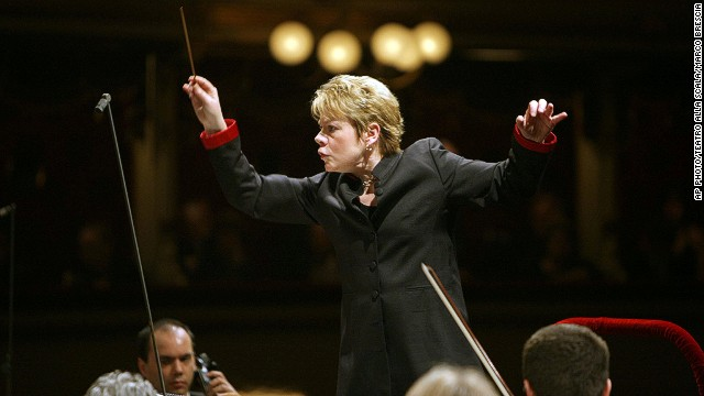(Files) Marin Alsop leads the Filarmonica della Scala orchestra, at the Milan opera house.