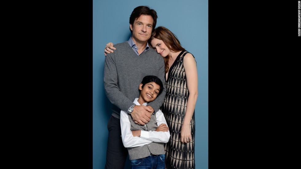 "Actor/director Jason Bateman, actor Rohan Chand and actress Kathryn Hahn of ""Bad Words"" pose at the Guess Portrait Studio on September 6."