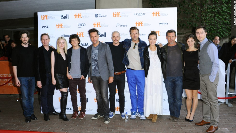 "Jason Reitman, left, Scott Thompson, Dakota Fanning, Jesse Eisenberg, Dane Cook, Marc-André Grondin, Jason Sudeikis, Olivia Wilde, Josh Brolin, Jordan Hayes and Jarod Einsohn arrive at Jason Reitman's live reading of ""Boogie Nights"" on Day <br />Two of the film festival at the Ryerson Theatre on September 6."