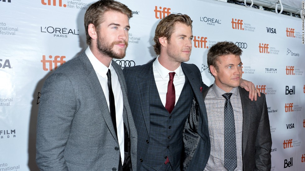 "Actors Liam, from left, Chris and Luke Hemsworth attend the ""Rush"" premiere during the 2013 Toronto International Film Festival on Sunday, September 8."