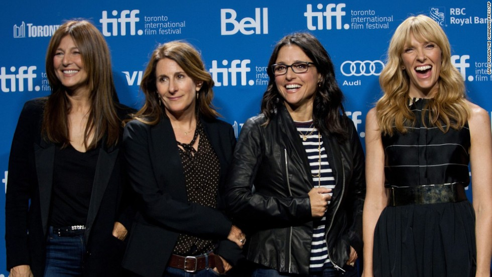 "Actress Catherine Keener, from left, director Nicole Holofcener and actresses Julia Louis-Dreyfus and Toni Collette pose for a picture at the photo call for ""Enough Said"" on September 8."