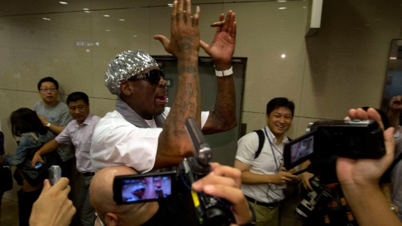 "Rodman faces questions about detained American Kenneth Bae at the Beijing airport in September 2013. ""It is not my job to talk about Kenneth Bae,"" he told reporters. Bae was later released from detention in North Korea in 2014."