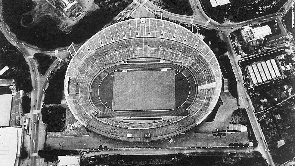 The National Stadium in Meiji Park, Tokyo, pictured on April 23, 1964, where tens of thousands of spectators watched the opening and closing ceremonies.