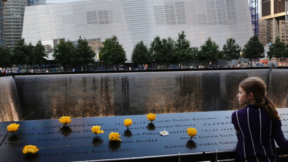Charlotte Newman, 8, visits the National September 11 Memorial on September 8.