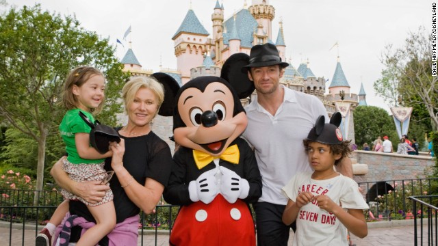 The Jackmans with children Oscar and Ava at Disneyland in 2009.