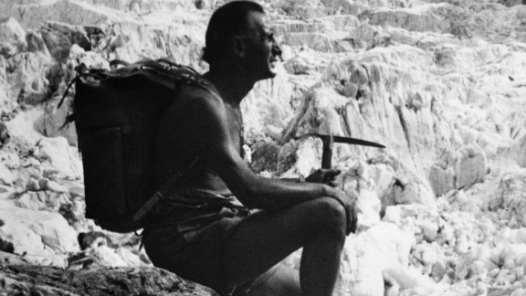 Vitale Bramini, pictured, invented vulcanized rubber soles after six climbers were killed in the Italian Alps in 1935.