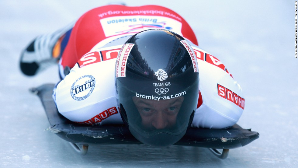 Skeleton racers tackle the ice on their sleds with their head just barely a few centimetres ahead of the sheet ice, using their bodies to steer at high speeds.