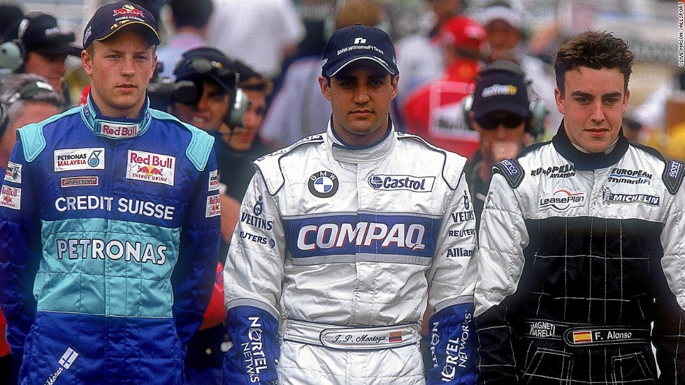 Raikkonen (left) was one of many talented drivers making their F1 debut in 2001, along with future McLaren teammate Juan Pablo Montoya and Alonso (right).