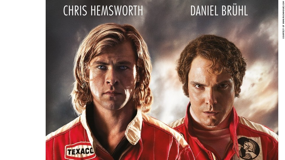 "A promotional image for the new Formula One film ""Rush."" Australian actor Chris Hemsworth plays  the hedonistic James Hunt (left) while Daniel Bruhl plays his on-track nemesis Niki Lauda."