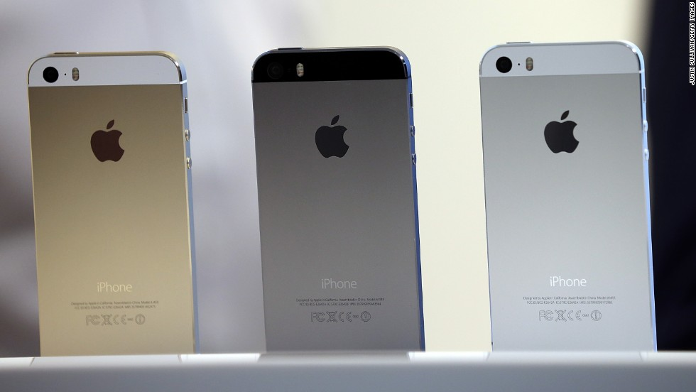 "The iPhone 5S is the flagship version of the handset and is available in silver or ""space gray"" as well as gold.  The phone is made from hard-coated polycarbonate, is less than 1/3 of an inch thick and weighs about 4 ounces."