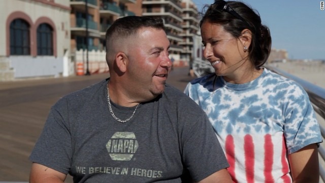 New York police officer Charlie Sadler and his wife, Gina, lost their home to Sandy. But a new one is on the way.