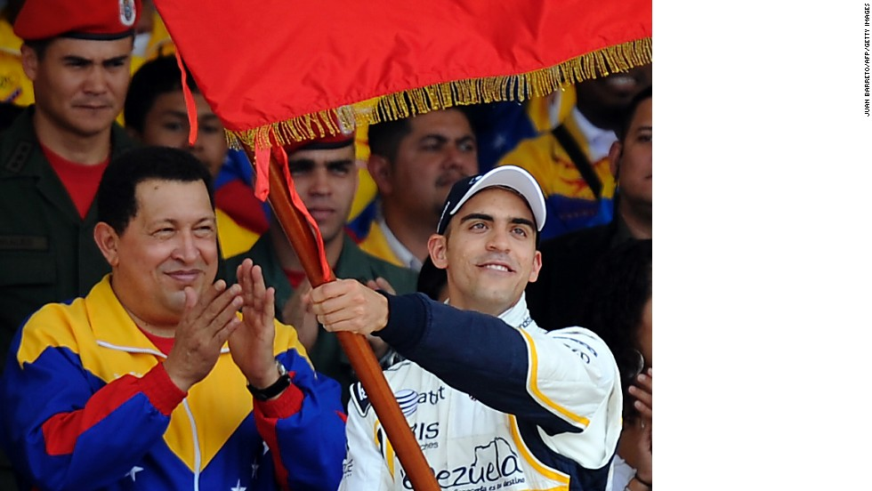 Pastor Maldonado (right) was encouraged into Formula One by the late Venezuelan president Hugo Chavez, who took a personal interest in motorsport.