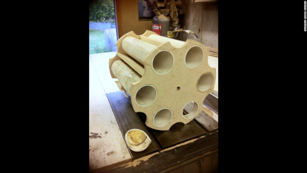 The beginnings of the mailbox's cylinder. Buchko says his model is exactly 11-1 scale.