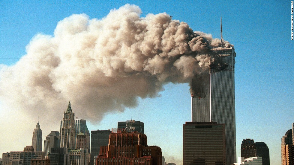 NEW YORK - SEPTEMBER 11, 2001:  (SEPTEMBER 11 RETROSPECTIVE) Smoke pours from the twin towers of the World Trade Center after they were hit by two hijacked airliners in a terrorist attack September 11, 2001, in New York.