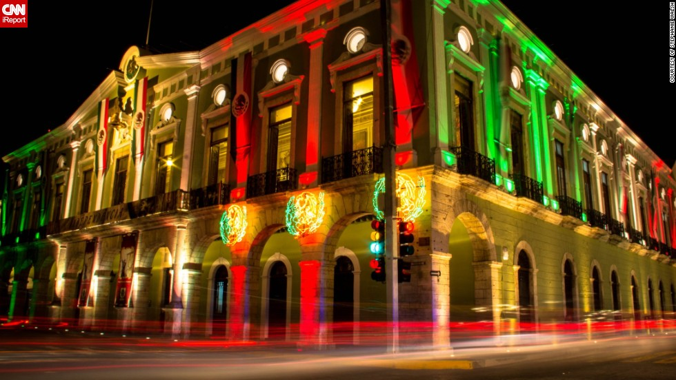 """I thought the building looked really beautiful,"" said Stephanie Walsh, from Ireland, who captured this colorful display of <a href=""http://ireport.cnn.com/docs/DOC-1029328"" target=""_blank"">Mexican national pride</a> in the city of Valladolid a few days before the Independence Day in 2012. On the actual day she traveled to the city of San Cristobal de las Casas, in the Mexican central highlands. ""It was incredible! The atmosphere was amazing and the entire city seemed to show up for the celebrations, with flags, painted faces and a few shots of tequila already consumed. It was one of the best Independence Day celebrations I have ever been at,"" she said."